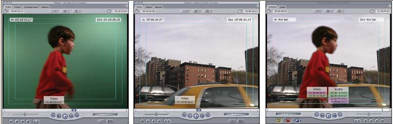 In the first image above left, a boy stands in front of a chroma key screen; the second photo depicts a street scene he will be composited into; the third image shows the boy composited into the background clip.