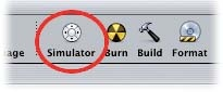 The Simulator button in the toolbar