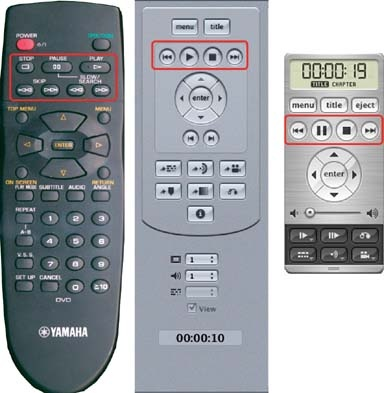VCR functions on consumer player and software remotes