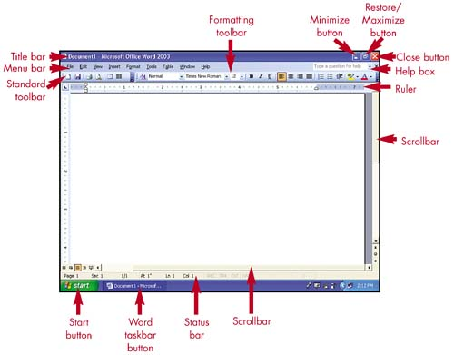 1 acquainting yourself with word easy microsoft office word 2003 the word window ccuart Image collections