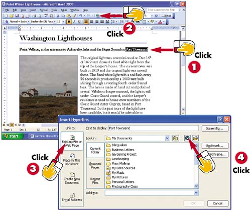 Inserting Hyperlinks in a Word Document