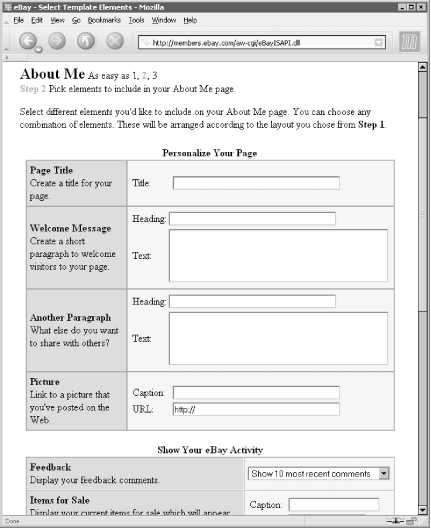 The About Me setup page is the first thing you see when you build an About Me page, but it doesn't afford the flexibility of the optional HTML editor interface