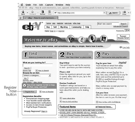 This screenshot shows the version of eBay's home page that appears the first time you visit the site. It presents the three steps of most interest to new eBayers: how to find stuff, how to buy that stuff, and how to pay for it. Anyone can search the site. But before you can bid, buy, or pay, you have to register, as described in the following section.
