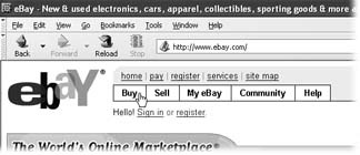 The eBay logo and these links appear at the top of nearly every page on eBay and are a great navigation aid. Wherever you wander on the site, Help is only a click away. To begin shopping, click the Buy link.