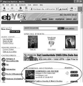 Find the eBay Live Auctions site at . Start dates and times appear for each auction under Upcoming Auctions. To see the auction catalog (a list of items up for sale, with photos), click the title of an auction. Any registered eBayer can watch a live auction in progress (click the View Live button), but if you want to bid, you have to sign up. Click the Bid Now button to sign up for an auction in progress or the Sign Up button for one that hasn't started yet.