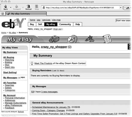 My eBay is your very own personal eBay data center. Your eBay ID appears at the top of the page. This view shows My Summary (you can change the view via the eBay Preferences link located under My Account). My Summary is handy because it shows you an at-a-glance overview of your recent eBay activity: auctions you're bidding on, merchandise you're selling, items you've put on your Watch list (Section 1.5.1). You can select the information you want to see (and the order you want to see it in) by zipping over to the upper-right corner of the page and clicking Customize Summary (the first few letters of which are visible in this screenshot).