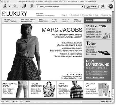 eLUXURY.com, owned by LVMH (Louis Vuitton, Moet, Hennessey), is an authorized online retailer of many designer brands. It's a good place to inspect the details of high-end retail merchandise, so you can compare those details with pictures of items up for bid on eBay. When you're looking at a particular item, use eLUXURY's alternate views and zoom feature to scrutinize the real thing.