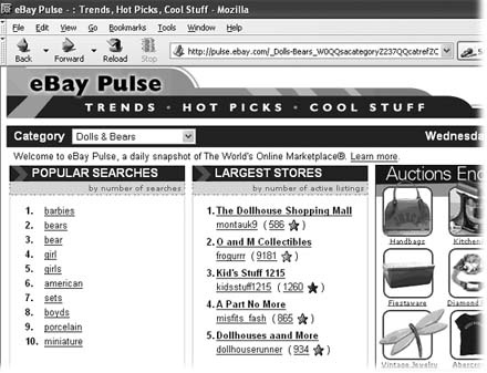 eBay Pulse's Popular Searches list shows you the most searched-for keywords in your category. You can also check out your most serious competition by looking in the Largest Stores box, which shows the eBay Stores with the most listings. At the bottom of the page (not shown) is a list of the most-watched items; study these auctions to figure out why they've attracted so much attention.