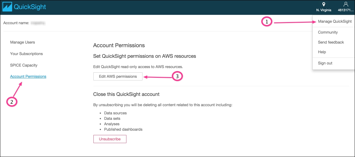 Managing QuickSight permissions on AWS resources - Effective