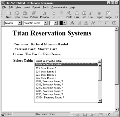 HTML interface to the Titan reservation system