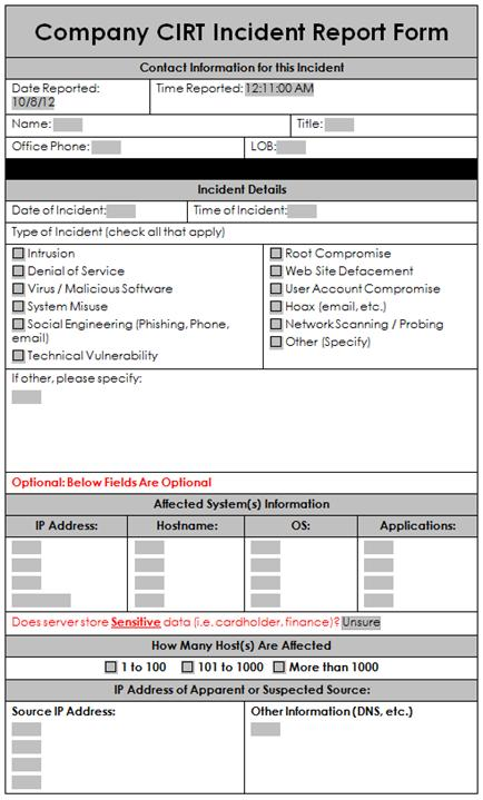 A Sample Incident Response Report Form  Enterprise Security A Data