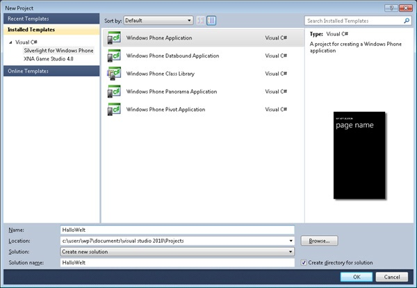 New Project-Dialogfeld in Visual Studio 2010 Express for Windows Phone