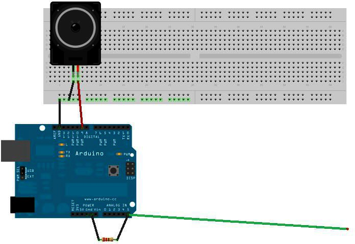 EMI detector: one lead of 8-ohm speaker connected to GND pin on Arduino, the other to digital port 8.