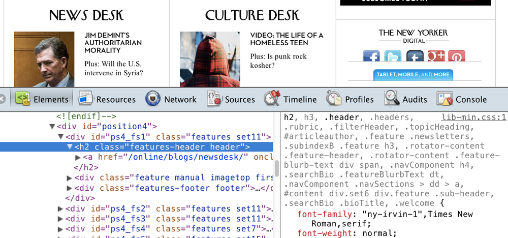 Screenshot from newyorker.com showing the NY Irvin font as well the browser console with the CSS referencing that font