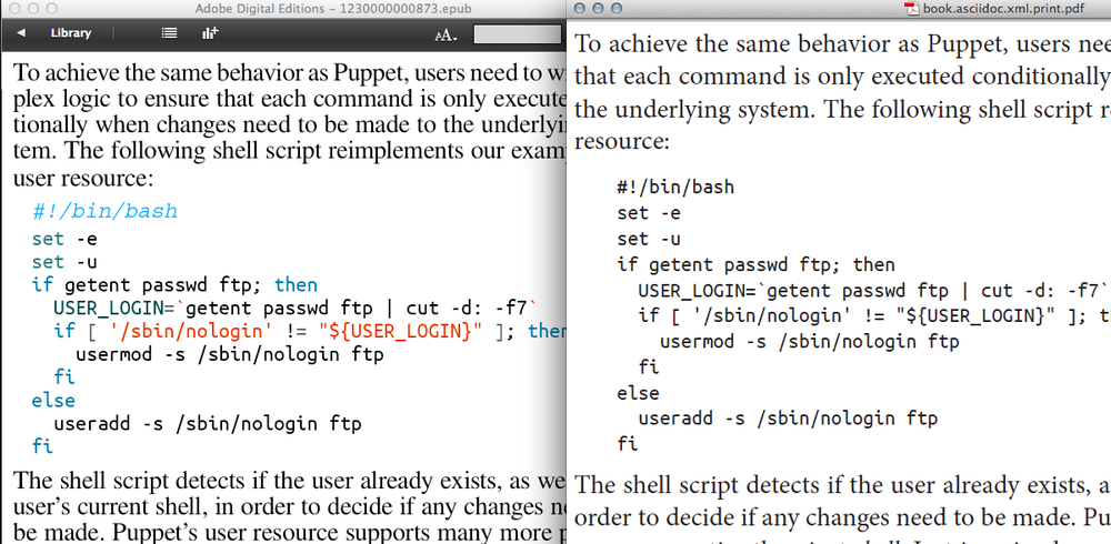 Screenshot showing side by side comparison of code in black and with syntax highlighting applied