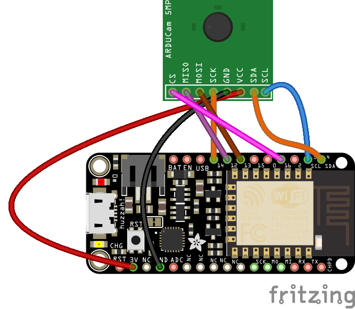 Wiring the ArduCAM with the Feather HUZZAH ESP8266 - ESP8266