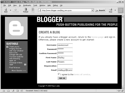 Blogger account sign-up page