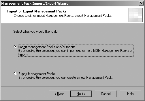 Select to import a management pack