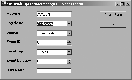 The Event Creator resource kit tool