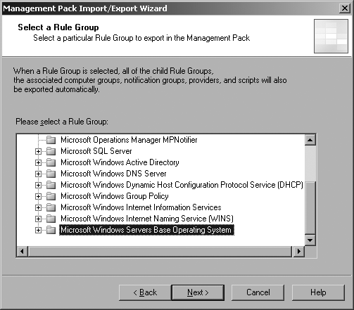 Choosing to export the Base OS rule group