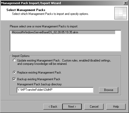 Choose the Replace option for the first-time import of a management pack into production