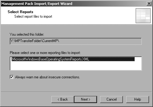 Select the reports that you want to import