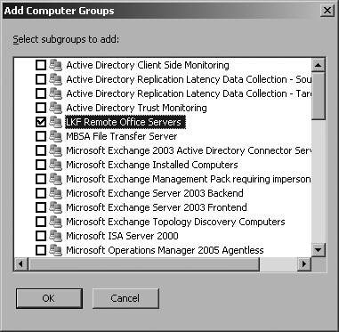Select the LKF Remote Office Servers computer group to include it in this console scope