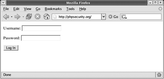 A basic login form displayed in a browser