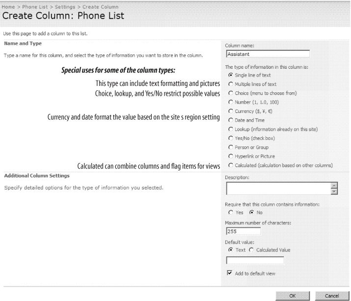Adding an Assistant column to the Phone List