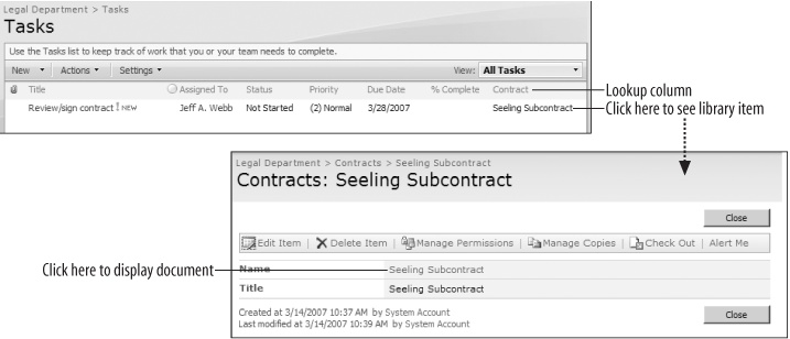 Using Lookup columns to drill down to a contract from a task list to a document