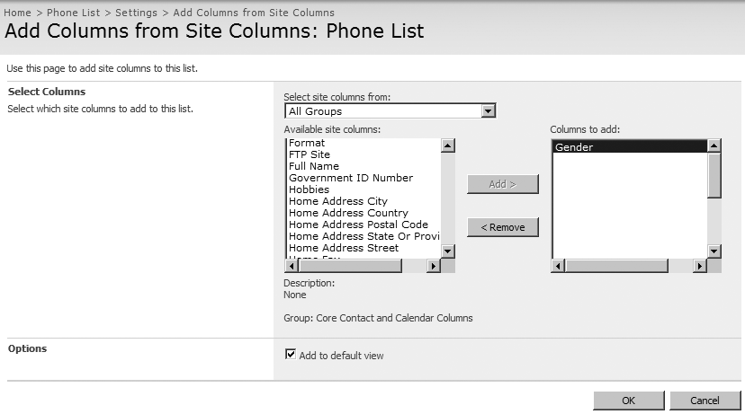 Adding a site column to a list