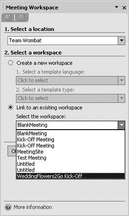 Linking a meeting request to an existing workspace