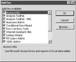 Tools → Add-Ins - Excel 2000 in a Nutshell [Book]