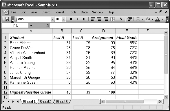 A typical spreadsheet is really just a table.