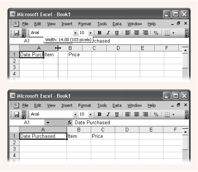 Top: To widen a column, position your mouse on the right border of the column header you want to expand, and then drag right.Bottom: When you release the mouse, Excel resizes the entire column of cells to the new size.
