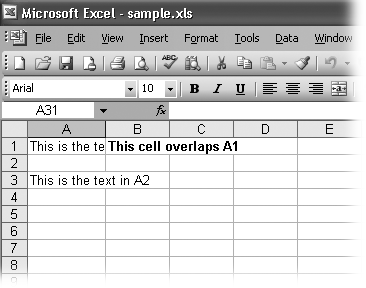 If you type a large amount of text into A1 and then type some text into B1, you only see part of the data in A1 on your worksheet (as shown here). Resizing column A fixes this problem.