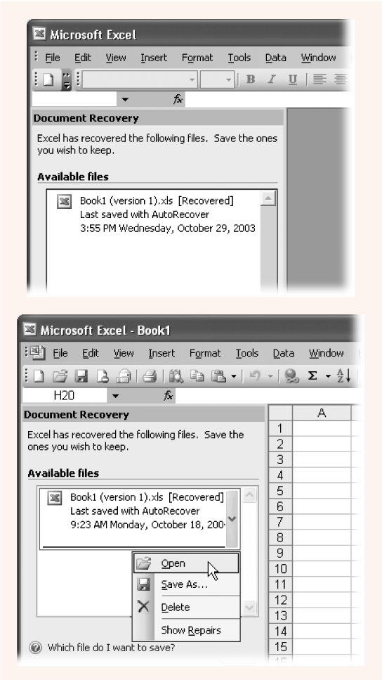 Top: Every time Excel starts up, it looks for AutoRecover backups.Bottom: You can save or open an AutoRecover backup like an ordinary Excel file; simply click the item in the list.