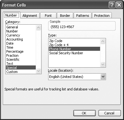 Special number formats are ideal for formatting sequences of digits into a common pattern. For example, if you choose Phone Number in the Type list, Excel converts the sequence of digits 5551234567 into the proper phone-number style—(555) 123-4567—with no extra work required on your part.