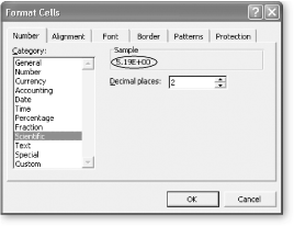 A good way to learn about the different number formats is to select a cell that already has a number in it and then choose a new number format from the Category list (select Format → Cell). When you do so, Excel uses the Format Cells dialog box to show how the number will be displayed if you apply that format. In this example, you can see that the cell value, 5.18518518518519, will appear as 5.19E+00, which is scientific notation with two decimal places.