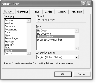 Special number formats are ideal for formatting sequences of digits into a common pattern. For example, if you choose Phone Number in the Type list, Excel converts the sequence of digits 5551234567 into the proper phone number style—(555) 123-4567—with no extra work required on your part.