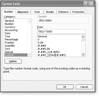 "Custom number strings allow you to do almost anything with a number format, but you'll need to spell it out explicitly using the cryptic code Excel provides. In the example shown here, the format string is ""0521-""0000. The ""0521-"" is a fixed string of characters that's added to the beginning of every number. The four zeroes indicate that you need four digits. If you provide a one-, two-, or three-digit number, Excel will add the zeroes needed to make a four-digit number. For example, the number 4 will automatically be displayed as the employee code 0521-0004."