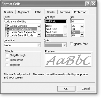 Here's an example of what happens when you apply an exotic font through the Format Cells dialog box. Keep in mind that, when displaying data and especially numbers, sans-serif fonts are usually clearer and look more professional than serif fonts. (Serif fonts have little embellishments, like tiny curls, on the ends of the letters; sans-serif fonts don't.) Arial, the default spreadsheet font, is a sans-serif font. The font used for the body text of this book, Adobe Minion, is clearly a serif font, which works best for large amounts of text.