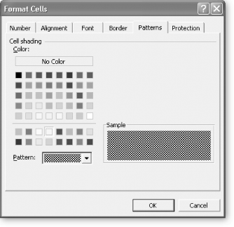 Adding a pattern to selected cells is simpler than choosing borders. All you need to do is select the color you want and optionally choose a pattern. The pattern is always drawn in black, and can include diagonal lines, a grid, dots, or the tight checkerboard shown in this figure. Generally, patterns obscure text, and you shouldn't apply them to cells that have content. Fills tend to work better, provided you use light colors that will allow text or numbers to remain legible.