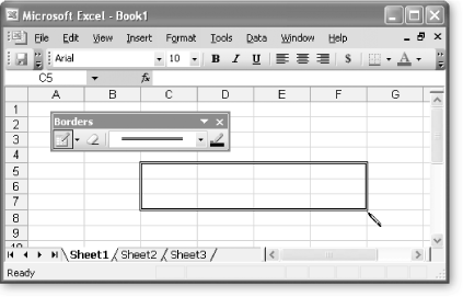 The Borders toolbar looks humble enough, but it packs a lot of power. Rather than allowing you to apply only preset border styles to the current selection, the Borders toolbar lets you draw directly onto your worksheet. To activate drawing mode, make sure you've selected the Draw Border icon on the left side of the toolbar. You can also choose a line style and color.