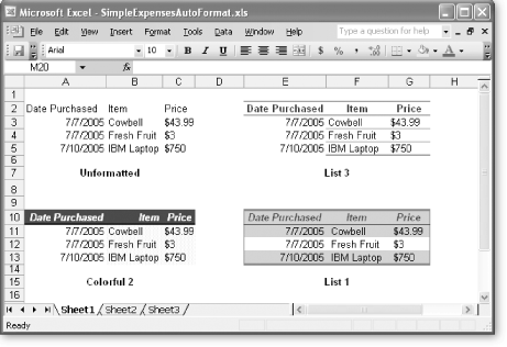 This worksheet shows the before and after effects of using Autoformat. The first table of data shows the data before it's been formatted; the other three tables have been transformed using a variety of different AutoFormat templates.