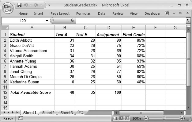 This Spreadsheet Lists Nine Students Each Of Whom Has Two Test Scores And An Assignment