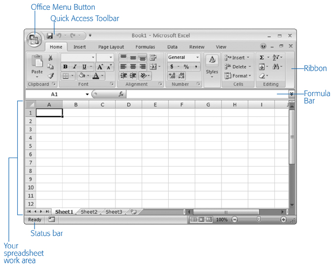 The largest part of the Excel window is the worksheet grid where you type in your information.