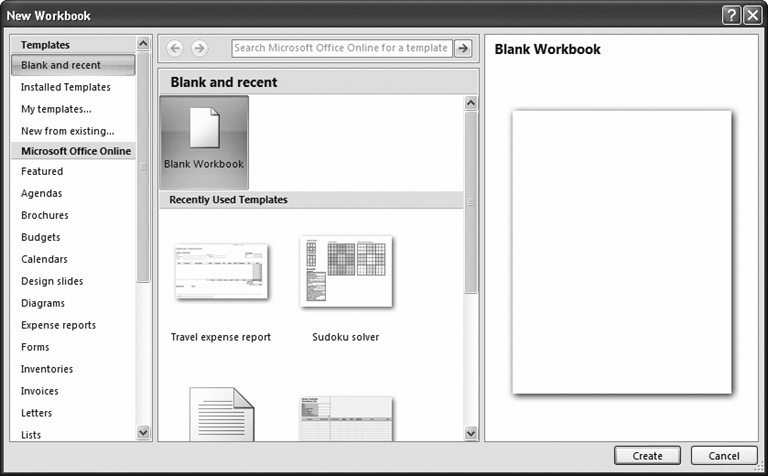 The New Workbook window lets you create a new, blank workbook. Choose Blank Workbook (in the window's middle section), and then click Create to get started with an empty canvas.