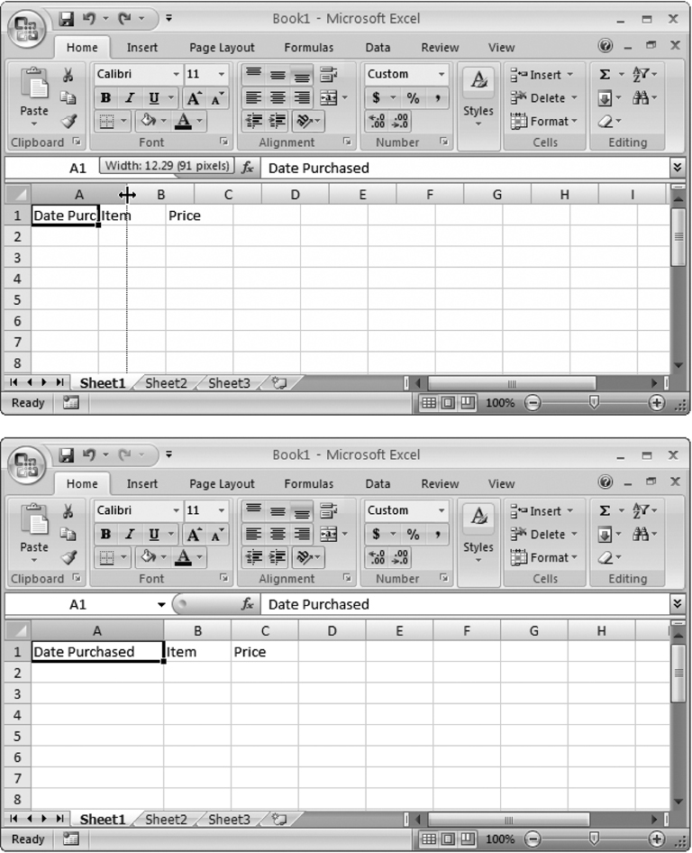 Top: The standard width of an Excel column is 8.43 characters, which hardly allows you to get a word in edgewise. To solve this problem, position your mouse on the right border of the column header you want to expand so that the mouse pointer changes to the resize icon (it looks like a double-headed arrow). Now drag the column border to the right as far as you want.Bottom: When you release the mouse, the entire column of cells is resized to the new size.