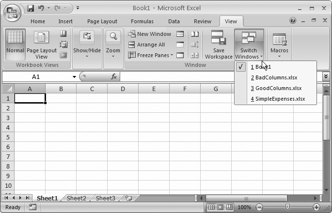 When you have multiple spreadsheets open at the same time, you can easily move from one to the other using the Switch Windows list.
